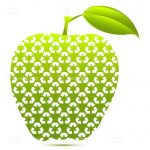 Green Apple with Recycle Symbols Pattern